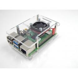obudowa do Raspberry Pi Model 4B/3B+/3B/2B otwarta z wentylatorem - przezroczys