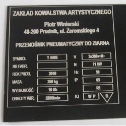 Tablica informacyjna na urządzenie -  aluminiowa